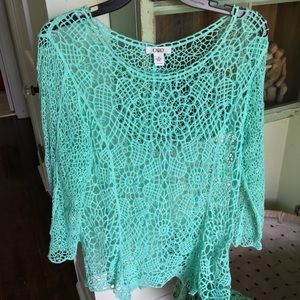 Cato Crochet Top blouse  teal green spring summer